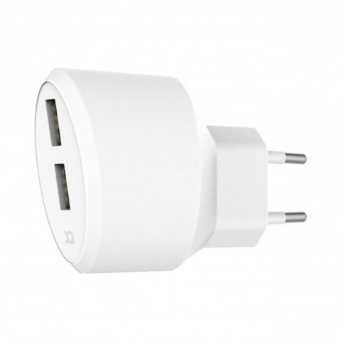 XQISIT Travel Charger 3.4A Dual USB EU white 31538