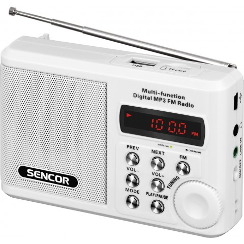 Sencor Φορητό Ραδιόφωνο Επαναφορτιζόμενο με USB Λευκό SRD-215