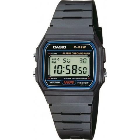 Casio Ψηφιακό Ρολόι Retro Vintage με Καουτσούκ Λουράκι σε Μαύρο χρώμα F-91W-1CR