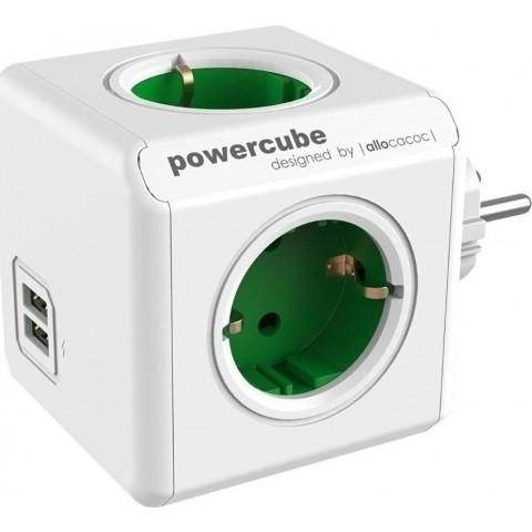 Allocacoc PowerCube Original USB 4 Θέσεων & 2 Θύρες USB - Green 1202GN/DEOUPC