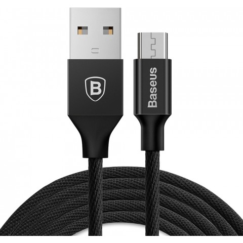 Baseus Yiven Braided USB 2.0 to micro USB Cable Μαύρο 1.5m (CAMYW-B01)