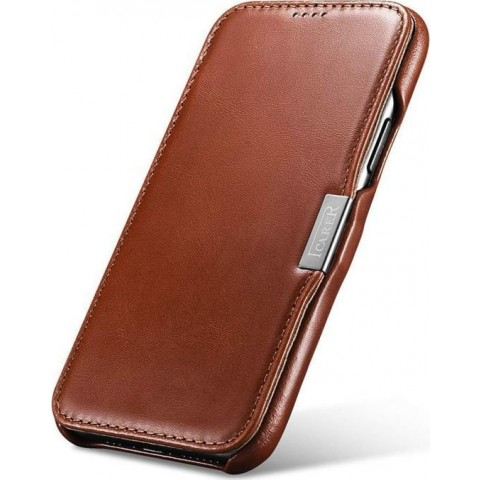 iCarer iPhone 11 Pro Case Vintage Series Side-open(metal clip in the front) Brown