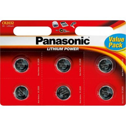 Panasonic Buttoncell CR2032 3V Τεμ. 6 με Διάτρητη Συσκευασία