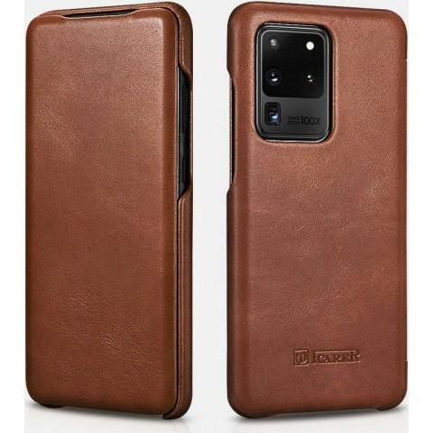 iCarer Samsung S20 Ultra Case Curved Edge Vintage Series brown
