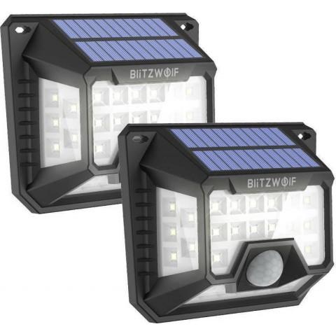 BlitzWolf  BW-OLT3 Solar Wall Light 2Pcs with 270°Wide Lighting Area, 32 Bright LEDs, 120°PIR Sensor, 1200mAh High Capacity and