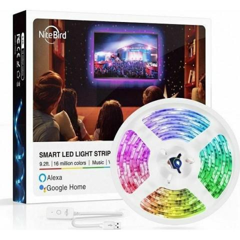 NiteBird Gosund Έξυπνη Ταινία LED RGB Wi-Fi with Music Mode & Alexa / Google Home Voice Control 10m (SL3)