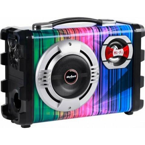 Rebel Φορητό σύστημα 20W με μικρόφωνο, MP3, Bluetooth, ραδιόφωνο FM και λειτουργία Karaoke KOM0836