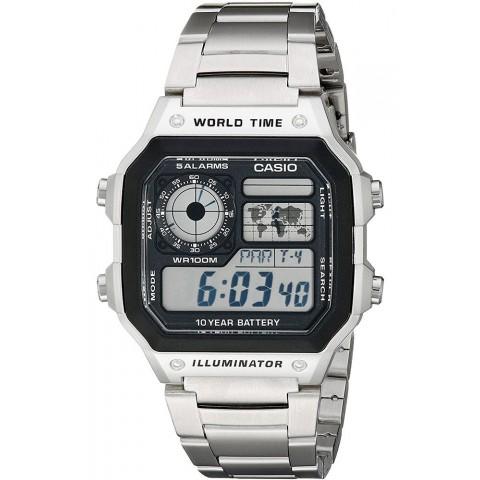 Casio Ανδρικό Ρολόι Ψηφιακό Χρονογράφος με Μεταλλικό Μπρασελέ σε Ασημί χρώμα AE-1200WHD-1AVCF