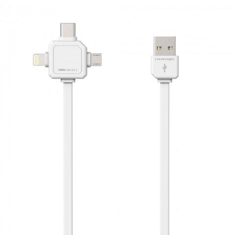 Allocacoc USBCable |3 in 1| (microUSB, Lightning, USB-C) Καλώδιο φόρτισης και μεταφοράς δεδομένων (1,5 μέτρο - λευκό)