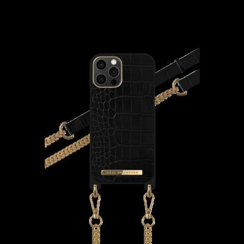 IDEAL OF SWEDEN για το iPhone 12/12 Pro Phone Necklace Case Jet Black Croco IDNCSS20-I2061-207