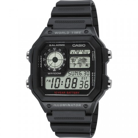 Casio Ρολόι ψηφιακό με μαύρο λουράκι AE-1200WH-1AVEF