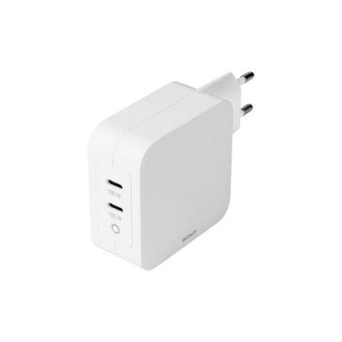 Deltaco USB-C wall charger, GaN technology, 2x USB-C PD, total 100 W USBC-GAN03