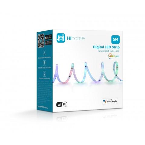 Hihome RGB Digital WiFi LED Strip with music function - 5 meters 220-240V WAL-RGBICM5