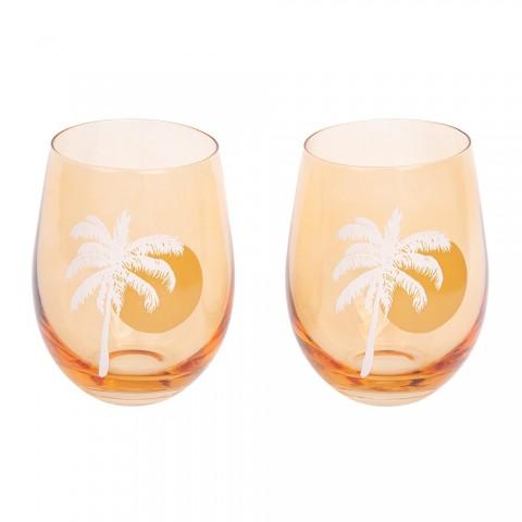 Sunnylife Σετ 2 Ποτήρια Cheers Stemless Glass Tumblers Desert Palms - Peachy Pink Set of 2 S1UGCODE Γυαλί
