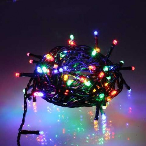Well Λαμπάκια γιρλάντα 100 πολύχρωμα LED με πράσινo καλωδio