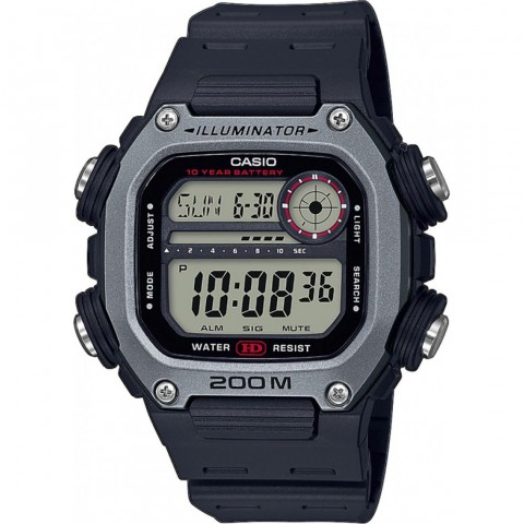 Casio Ανδρικό Ρολόι Με Μαύρο Καουτσούκ Λουράκι DW-291H-1AVEF