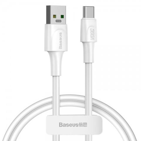 Baseus VOOC Regular USB 2.0 Cable USB-C male - USB-A male Λευκό 1m CATSW-F02
