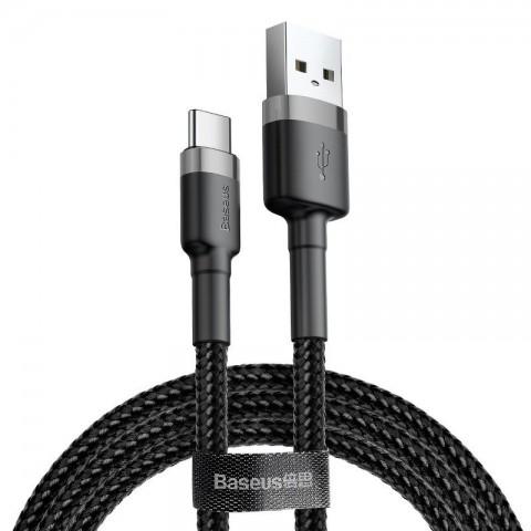 Baseus Καλώδιο Φόρτισης και Μεταφοράς Δεδομένων USB σε Type-C 50cm - Grey / Black (CATKLF-AG1)