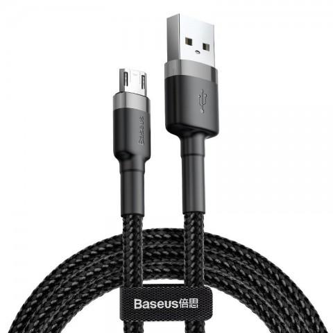 Baseus Καλώδιο Δεδομένων Cafule Braided Cable USB to Micro USB QC3.0 2.4A 0,5m Μαύρο/Γκρι (CAMKLF-AG1)