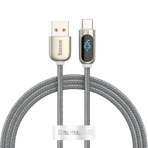 Baseus Καλώδιο Φόρτισης USB to Type-C Display Fast Charging Data Cable 5A 1m - Ασημί (CATSK-0S)