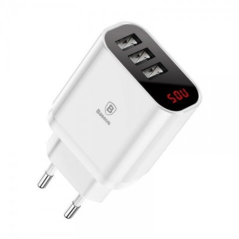 Baseus Mirror Lake Έξυπνος Αντάπτορας Φόρτισης με 3x USB 3.4A - Λευκός CCALL-BH02