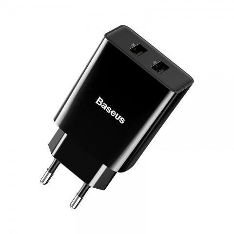 Baseus Wall Adapter Speed Mini Dual U2x USB 2.1A Black
