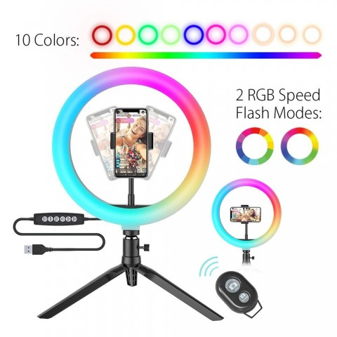 BlitzWolf BW-SL5 RGB Ring Light and Phone Holder , 10 Colors , 10 Brightness Levels , 3 Color Temperatures , USB Powered