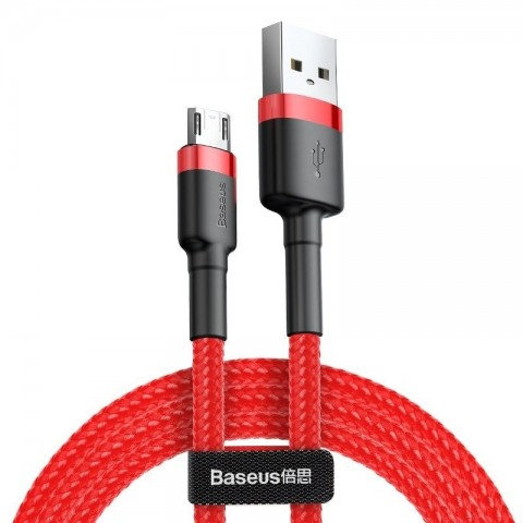 Baseus Καλώδιο Cafule Braided USB / micro USB QC3.0 2.4A 2m - Baseus - Κόκκινο - Micro Usb CAMKLF-C09