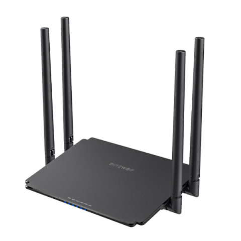 BlitzWolf Router Wireless 2.4G+5G Dual Band 1200Mbps Speed Superior Chip 4x5dBi High-Gain Antennas 512MB Memory (BW-NET1)