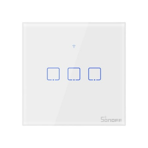 Sonoff T1 Τριπλός Έξυπνος Γυάλινος Διακόπτης Αφής Επίτοιχος (T1EU3C-TX) - Λευκό