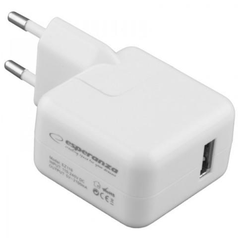 Esperanza USB Wall Adapter Λευκό (EZ119)