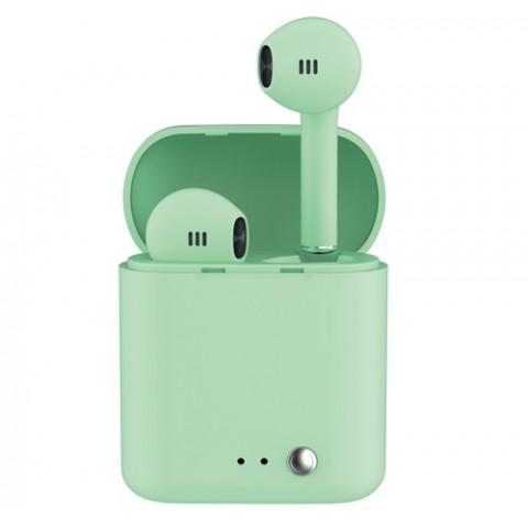 LEDWOOD ασύρματα ακουστικά T14 Bluetooth 5.0 Πράσινο Rubber Finish LD-T14R-TWS-GRE