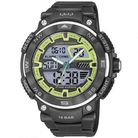 Q&Q Ανδρικό Ρολόι Digital-analog Black Rubber Strap GW85J003Y