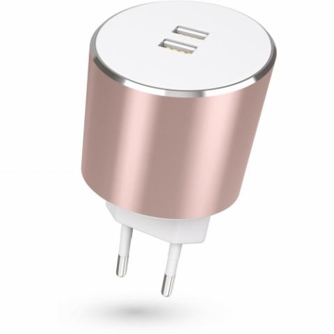 KIT: Φορτιστής Platinum Dual USB EU Mains Charger 3.4A (Auto Detect) Ροζ Χρυσό USBMCALUEU3RG