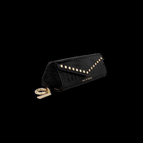IDEAL OF SWEDEN Sunglass Case Beatstuds Glossy Black Croco IDSCSS21-295