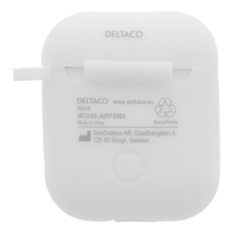 DELTACO AirPods silikone cover, hvid MCASE-AIRPS002