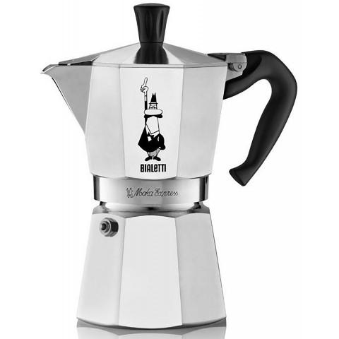 Bialetti Moka Express Ιταλικό μπρίκι espresso 6 Φλιτζάνια silver black