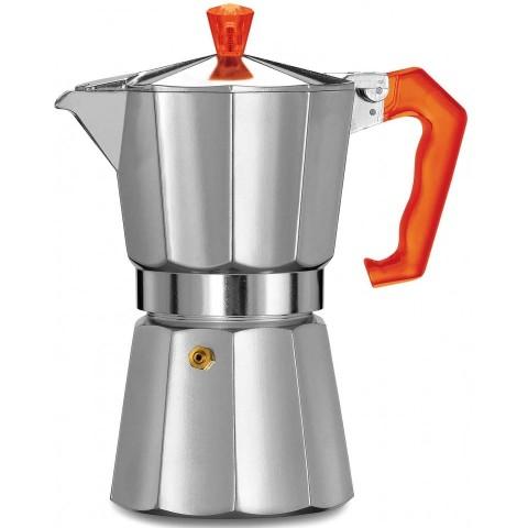 Pezzetti Italexpress Αλουμινίου Καφετιέρα Μόκα Espresso 6 Φλιτζάνια 335ml (χρωμέ-κόκκινη λαβή)