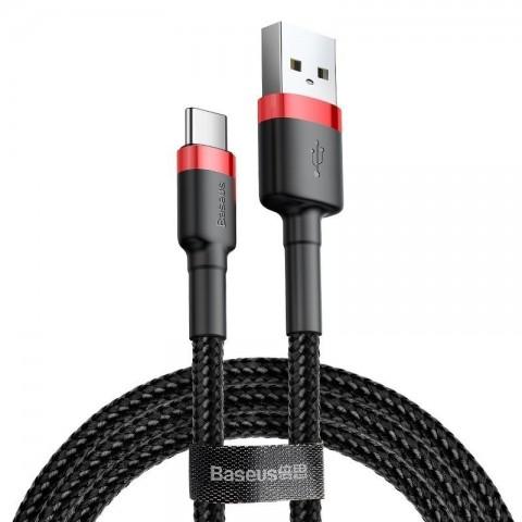 Baseus Καλώδιο Cafule Braided USB 2.0 USB-C male - USB-A male 3m CATKLF-U91 - Μαύρο Κόκκινο