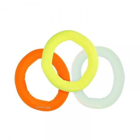 Sunnylife Catch Me Dive Rings Neon - Multi Set of 3 S1VRINNE