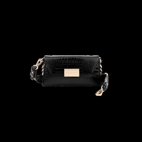IDEAL OF SWEDEN Olivia Crossbody Bag Universal Glossy Black Croco IDOCBSS21-274
