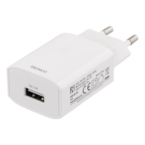 Deltaco wall charger 2,4 A white USB-AC149
