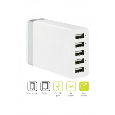 KIT 5-Port USB Charger 8A with EU Plug Λευκό USB58AWHEU