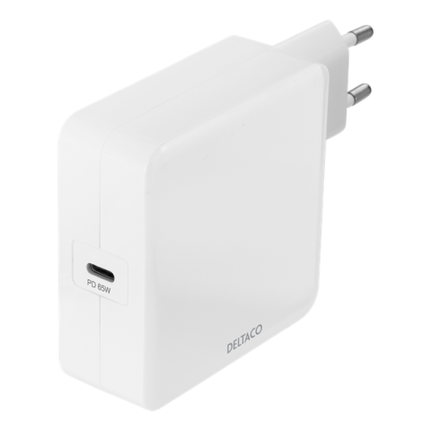 Deltaco USB-C wall charger 65 W, white USBC-AC140